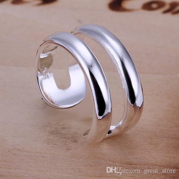 Venta caliente Dos líneas anillo de plata esterlina GR038, anillos de plata 925 para mujer.