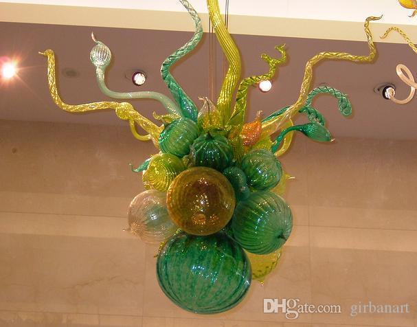 Lampes AC 110V-240V petit lustre en cristal de verre soufflé à la source de lumière de lumière de la lumière de la lumière de la chambre à coucher Chambre à coucher Chaîne de décoration