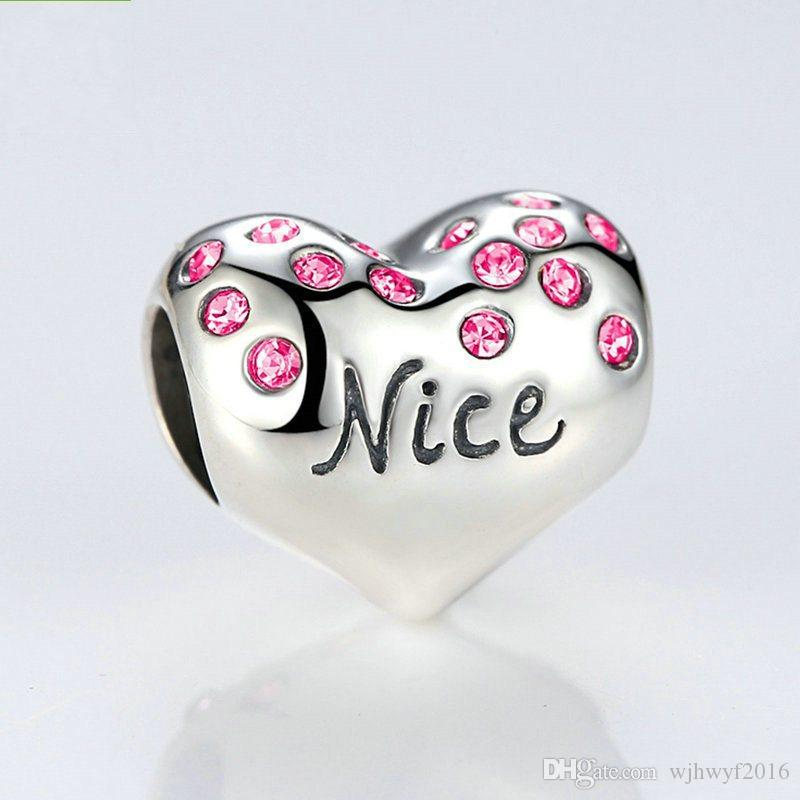 New letter Nice Naughty love hearts with red Crystal charms 925 sterling silver beads for women bracelet DIY jewelry making BF249
