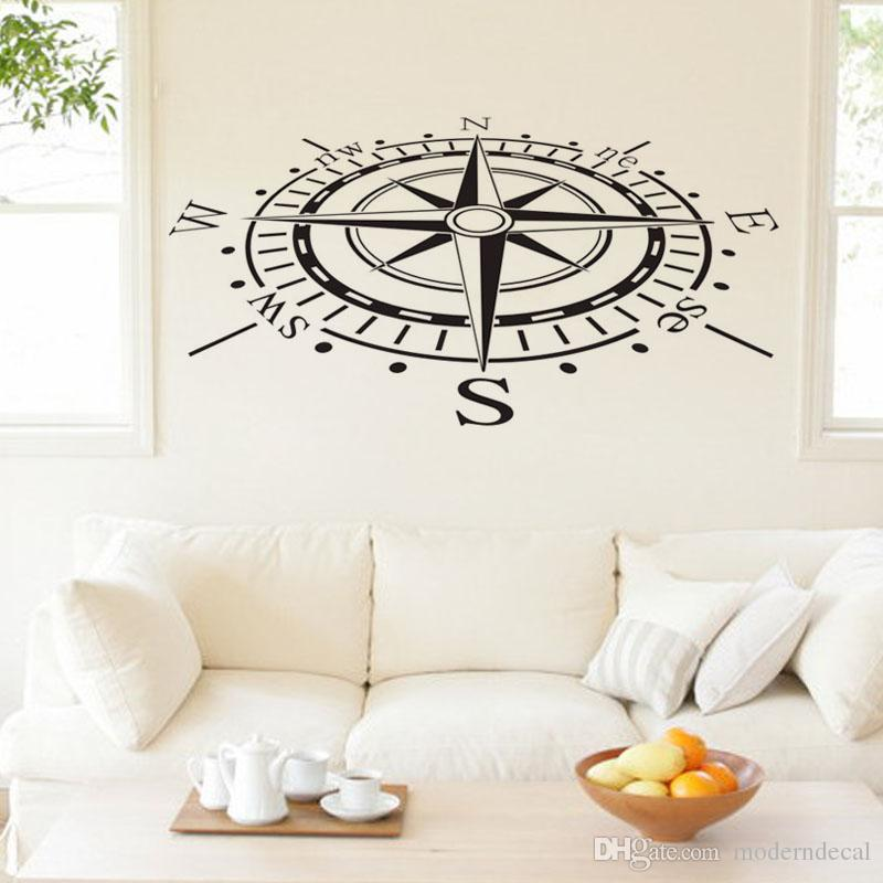 Ocean Navigation Compass Wall Decals Removable Vinyl Art Stickers Home Decor  Living Room Wall Stickers For
