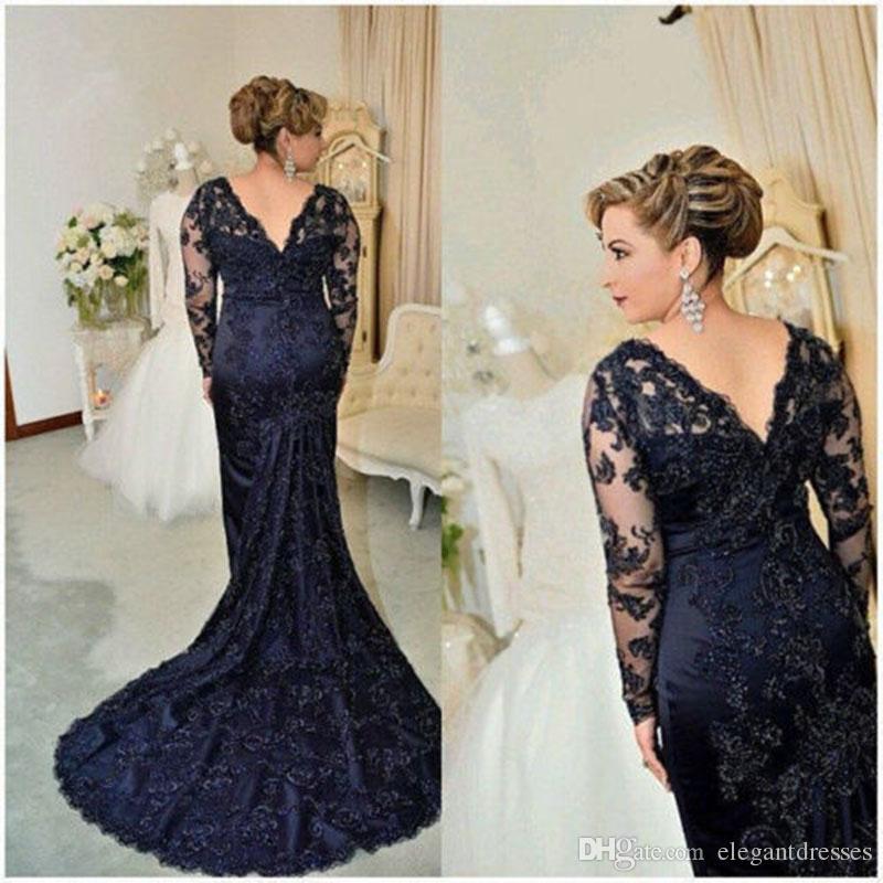 2021 New Royal Blue Mermaid Lace Appliqued Madre Delle Abiti da sposa Abiti Appliques Perline Maniche lunghe Abito da sera formale Torna a Prom Dress