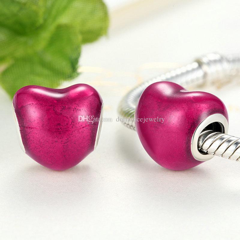 En Mi Corazón genuino 925 Sterling Silver Charms Violet Red Enamel Romántico Heart Beads para DIY Pandora Style Pulseras S265