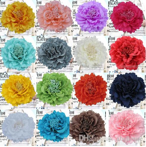 Peony Flower Corsage Brooch Pins Fabric Large Female Head Lace Clip Hair Accessories Seaside Resort Beach Bride Wedding Dress Women Jewelry