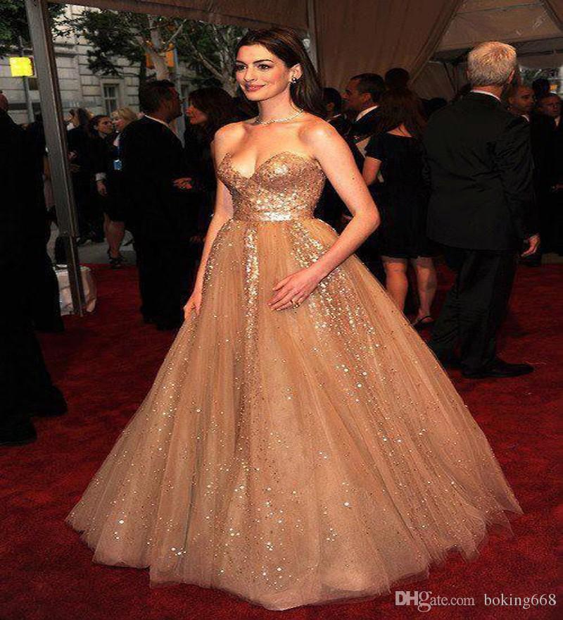 2018 Hot Champagne Carpet Anne Hathaway Celebrity Dresses