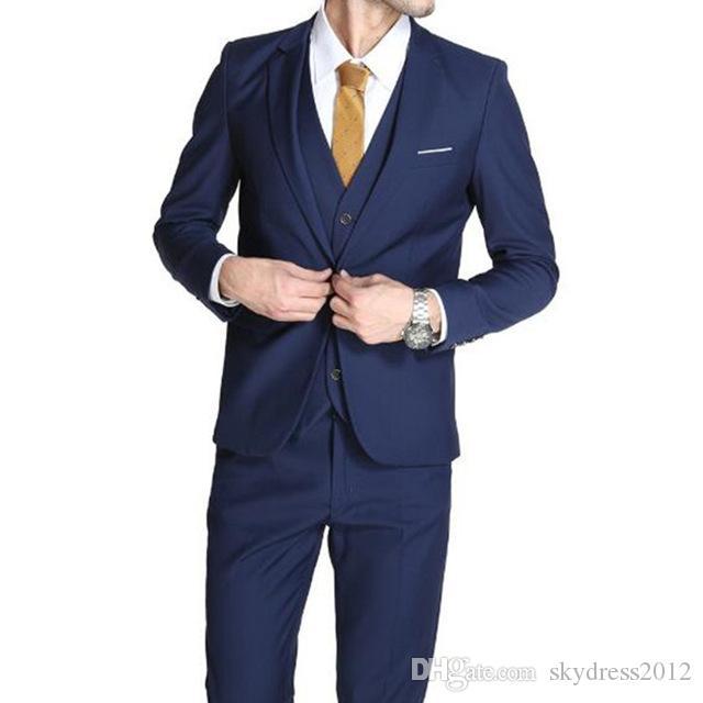Blue men suits tuxedos new style groom wedding suits tuxedos tailor made groomsman prom suits for menjacket+pants+vest