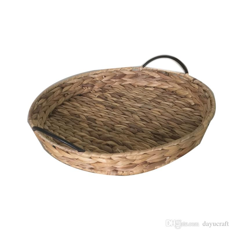 Best Handcrafted Water Hyacinth Woven Storage Basket With Metal Frame Stainless Steel Handle Round Fruits Nuts Containers Under $20.21 | Dhgate.Com  sc 1 st  DHgate.com & Best Handcrafted Water Hyacinth Woven Storage Basket With Metal ...