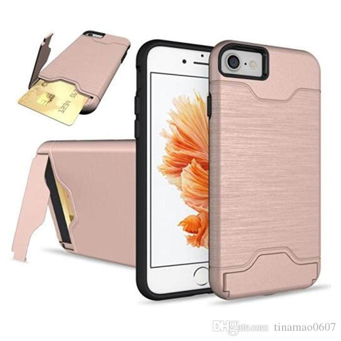 card slot holder stand cases for iphone 7 plus 7plus dual layer