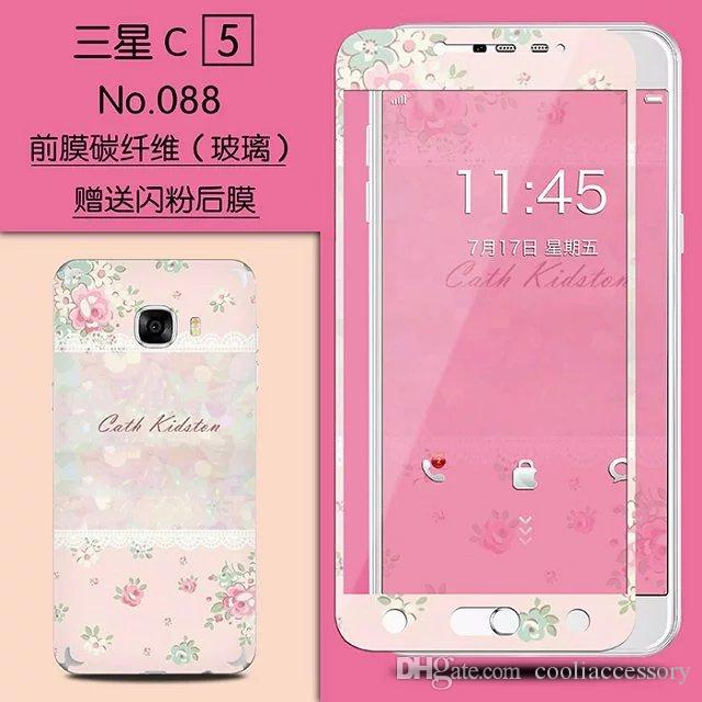 Cartoon Wolf Tempered Glass Premium Screen protector For Samsung Galaxy C5 Full body Front Back Stickers Rose Girl Tower Film Guard Package