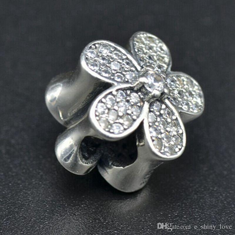Echt 100% 925 Sterling Silber Blume klar Strass Charm Bead Fit europäischen Armband authentische Luxus DIY Schmuck Geschenk