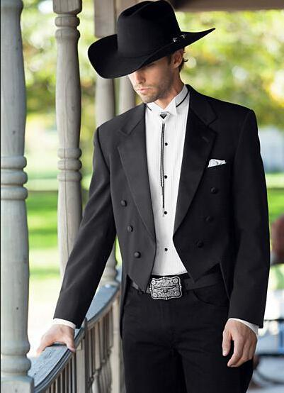 Top Quality Black Groom Sheadcoat Tailcoat Double-Breeded Dotched Risvolto Uomo Business Suit Prom Mens Matrimonio Suits Giacca + Pantaloni Q072