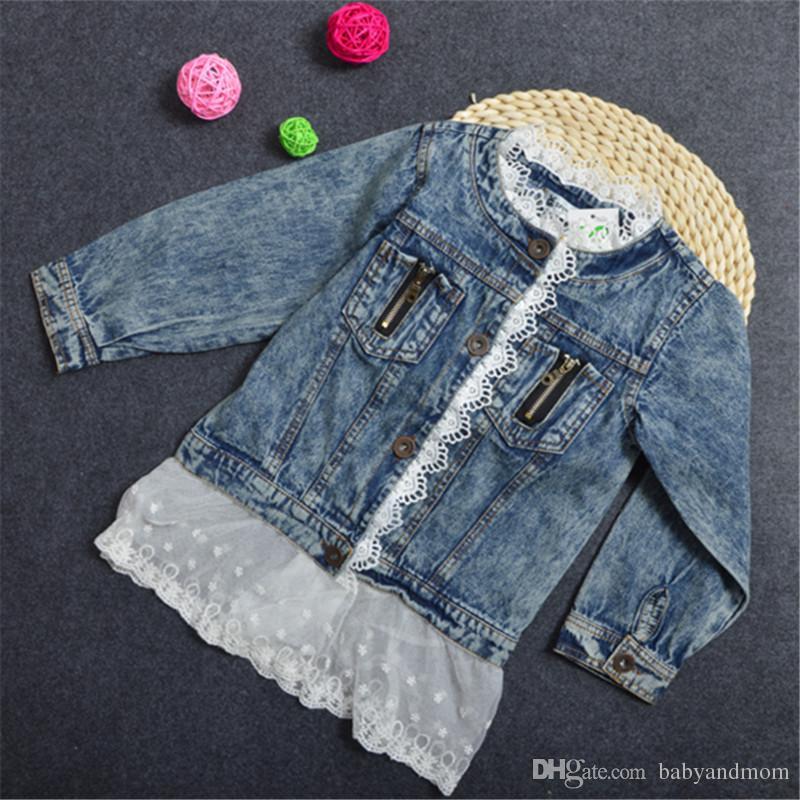 Bebés ropa de encaje de mezclilla niñas chaquetas Chicas Ocio Lavado Chaqueta de mezclilla niños ropa niños Abrigo Outwear