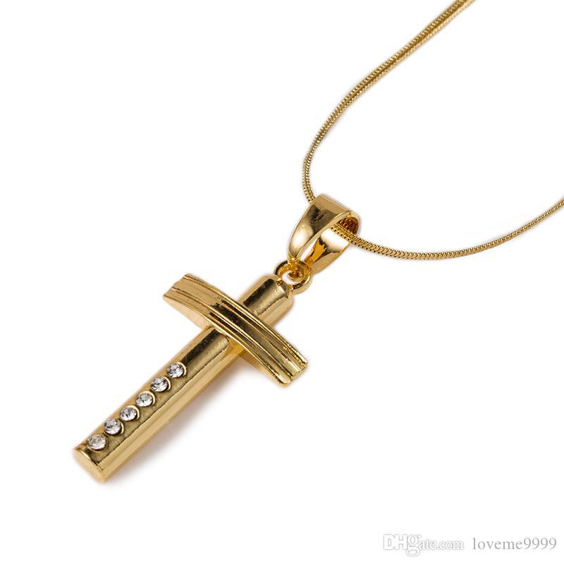 Хип-хоп любители 18K реального позолоченный простой Кристалл крест подвески ожерелье для мужчин женщин рэппер ювелирные изделия