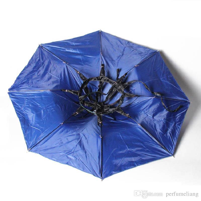 Blue Foldable Headwear Sun Umbrella Fishing Hiking Beach Camping Headwear Cap Head Hats Outdoor Sport Umbrella Hat Cap ZA0513