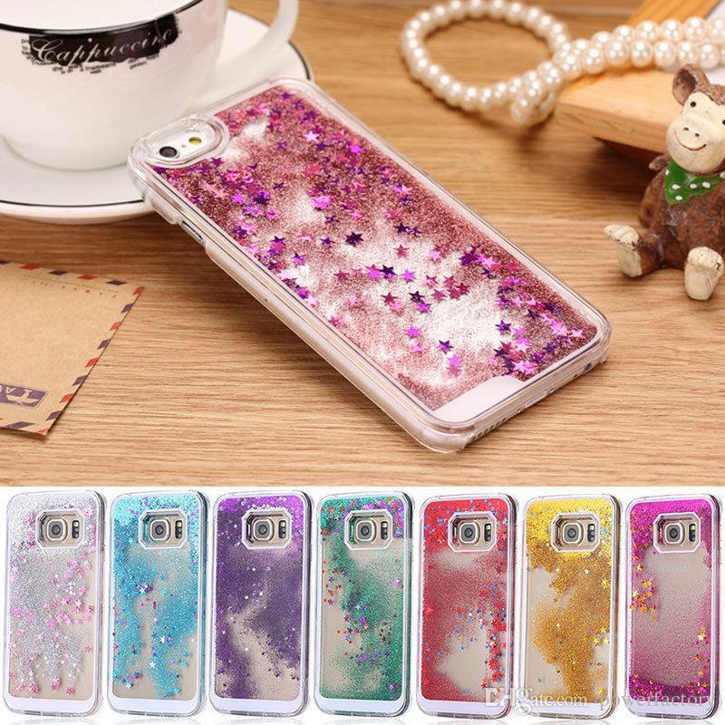 Liquid Glitter Stars Bling Custodia rigida trasparente iPhone 7 6 6S Plus 5S Galaxy S7 S6 bordo Nota 5 cover posteriore