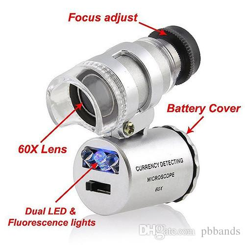 Wholesale Jewel 60X Microscope Mini Jeweler Magnifier 60X Loupes Jewelry Magnifiers Microscopes with LED Light + leather pouch + package