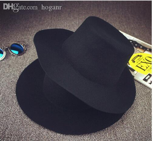 092d6ea9c77 Wholesale BIG Black Fedora Hats For Men Pure Wool Large Brim Winter Red Fedora  Hat Gorras Planas Hip Hop Boys Fedora Hats UK 2019 From Hoganr
