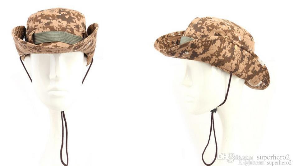 Camouflage Wide Brimmed Hat Outdoor Fisherman Bucket Hats Camo Wide Brim  Sun Fishing Cap Camping Hunting CS Tactical Gear Xmas Gift Knit Hats Bailey  Hats ... 398434801ae