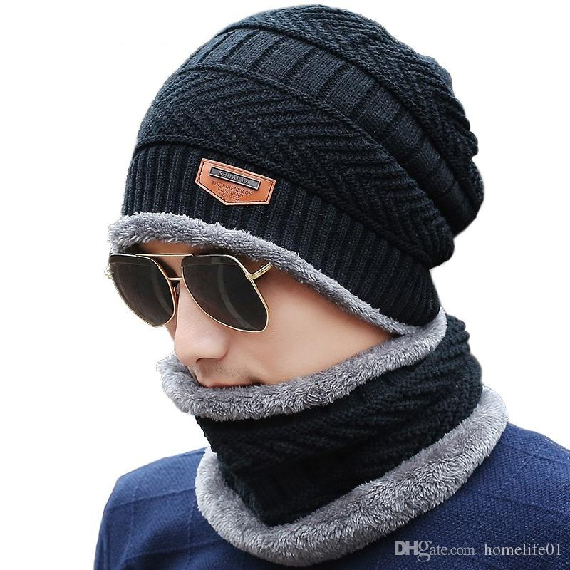 Hats   Scarves Sets Warm Men Winter Hats Collars Beanie Hat Knitting ... 5469e90b48d