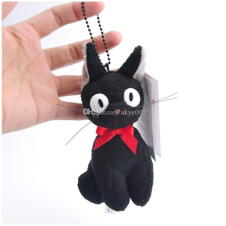 "Hot Sale 5pcs/Lot 4"" 10cm Kiki's Delivery Service Black Cat Keychain Pendant Plush Doll Stuffed Animals Toy For Baby Gifts"