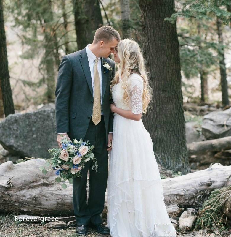 Western Country Wedding Dresses 2019 Lace Chiffon Modest V Neck Half Sleeves Long Bohemian Bridal Gowns Plus Size Robe de mariée en dentelle