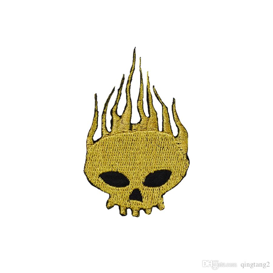 gold skull embroidery patches for clothing iron patch for clothes applique sewing accessories stickers badge on cloth iron on patches