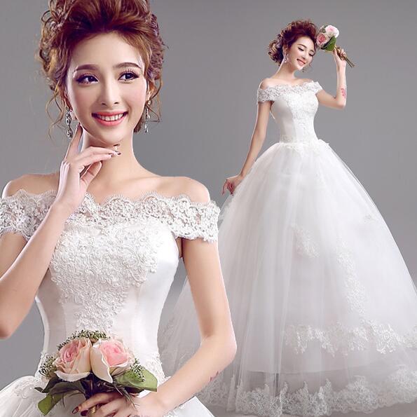 Hochzeitskleid Charming Bateau Neck Lace Prinzessin aus Schulter Brautkleider Brautkleider mit Sash Bow Sweep Zug nach Maß BD02