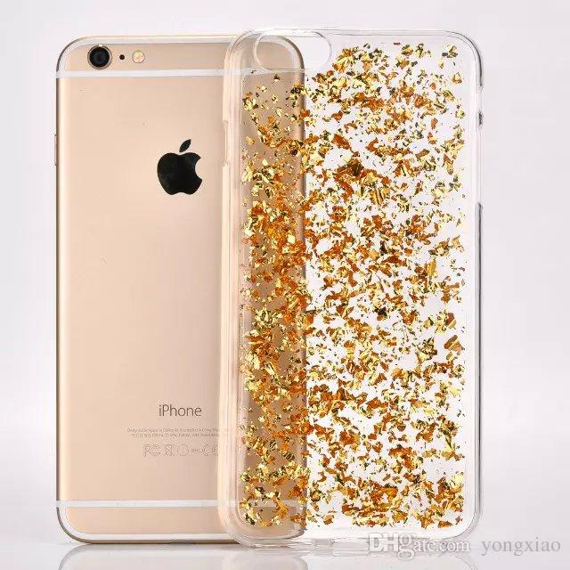 Glitter Bling Shining Platinum Goldleaf Silver Fragment clear Transparent Soft Tpu Case for Iphone 5 6 7 plus Samsung S6 S7 edge