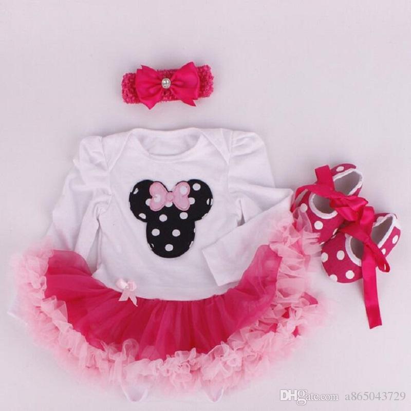 Yeni Bebek Kız Giyim Setleri Noel set Dantel Tutu Romper Elbise Jumpersuit + Kafa + Ayakkabı 3 adet Set Bebe İlk Doğum Günü Kostümleri