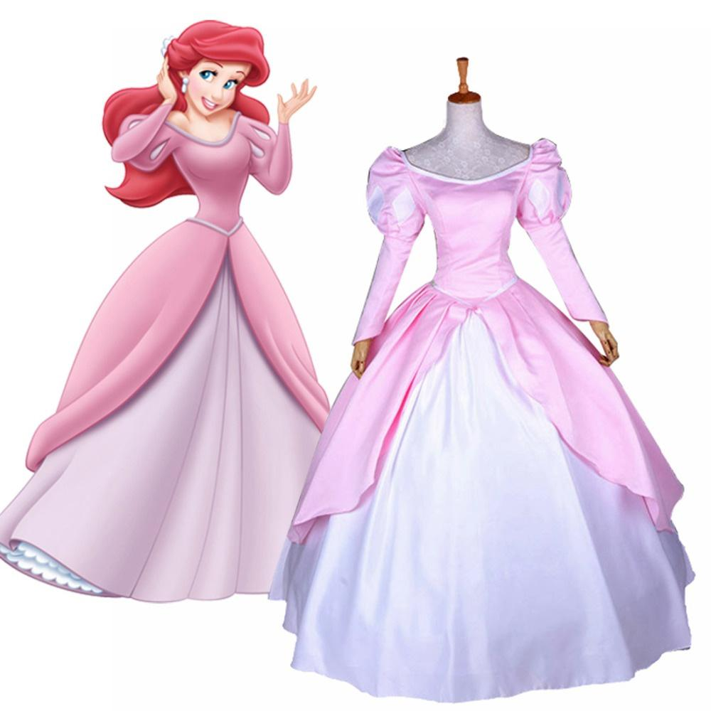 fairytale movie the little mermaid princess ariel cosplay costume pink formal dress ball gown halloween costumes for women cheap costumes fairy costumes - Halloween Costume Pink Dress
