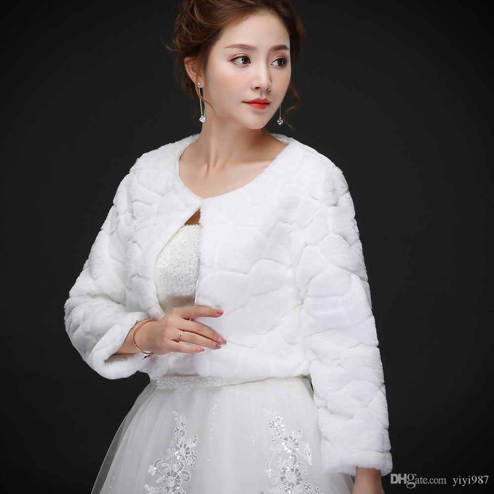 Real photos Half sleeve Faux Fur Warm Bridal Bolero Wedding Jacket Coats Bridal Wraps Shawl Wedding Cape Cloak Wholesale