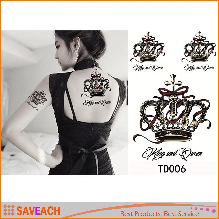 3d Waterproof Temporary Tattoos The Luxury Crown Temporary Tattoo