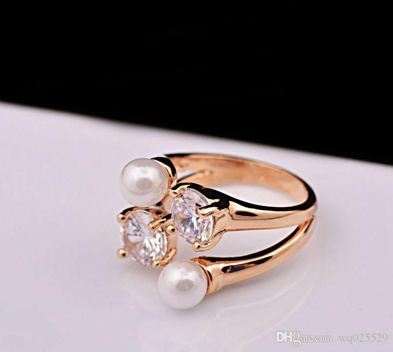 venda quente na Europa e nos Estados Unidos exagerada belo anel de pérola de abertura com anel de jóias de cristal conjunta para as mulheres
