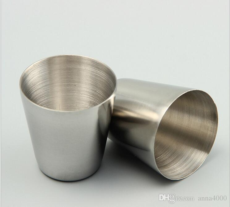 Großhandel-30ml Portable Edelstahl Schnapsgläser Barware Bier Wein Trinkglas Outdoors Cup