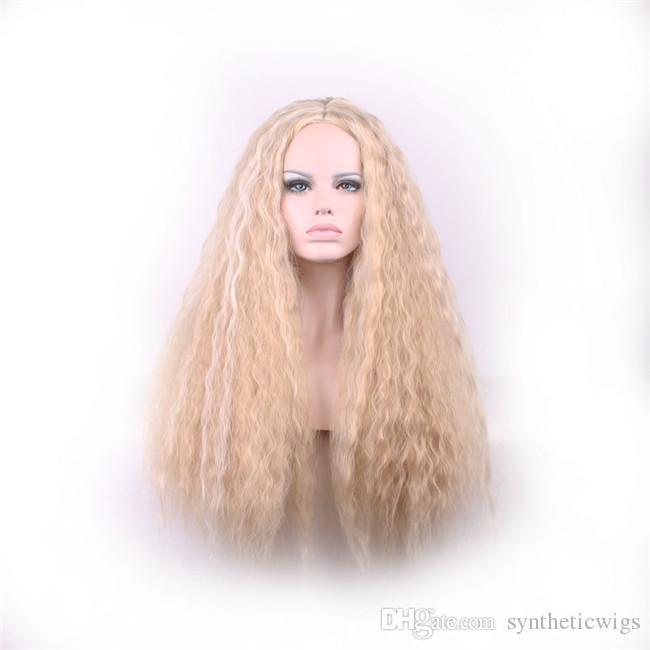 우드 페스티벌 긴 금발 가발 곱슬 머리 곱슬 머리 가발 여성 아프리카 계 미국인 좋은 품질 내열성 섬유 가발 코스프레 70cm