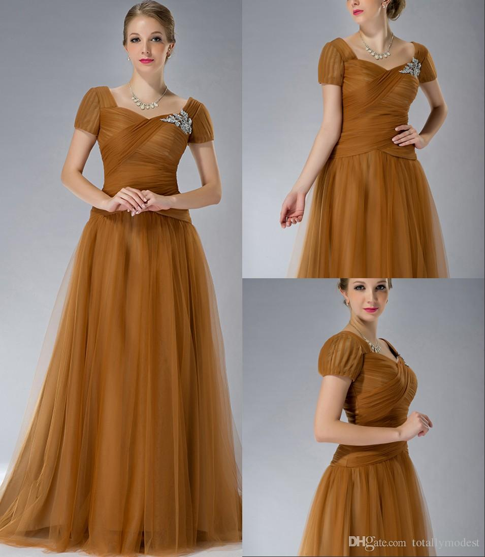 Brown tulle modest bridesmaid dresses with short sleeves queen brown tulle modest bridesmaid dresses with short sleeves queen anne neck ruched tulle winter wedding party dresses simple elegant custom bridesmaid dresse ombrellifo Images
