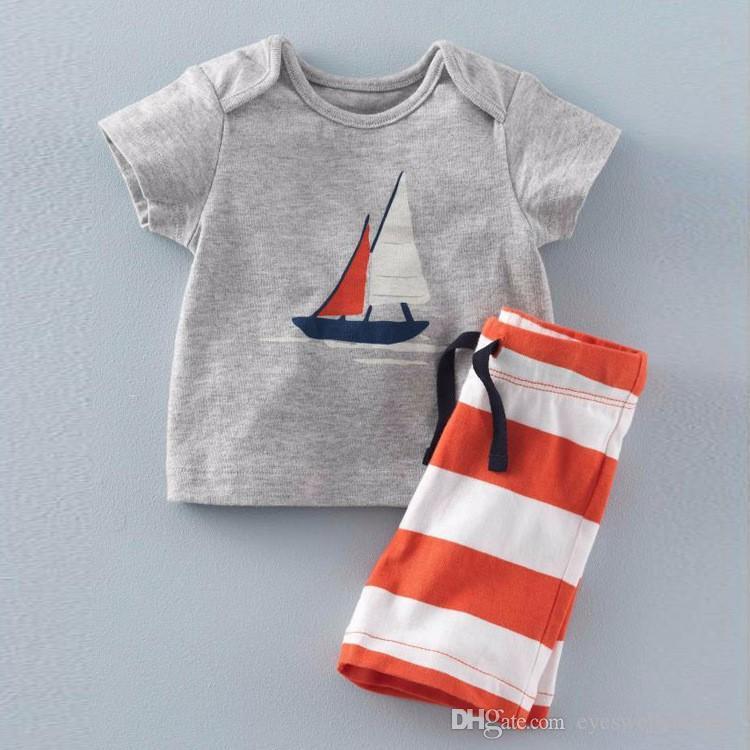 2016 Verão Bebê Meninos Conjuntos de Âncora Top t shirt + Stripe Calças Crianças de Manga Curta Boutique Roupas Crianças Pijamas Ternos de Verão Roupa Dos Miúdos