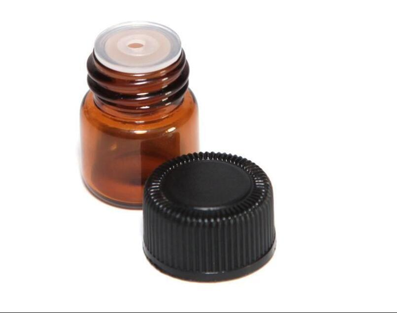 1 ml 1/4 Dram Amber Glass Essential Oil Flasche Parfüm-Probenröhrchen Flasche mit Stopfen und Verschlüssen