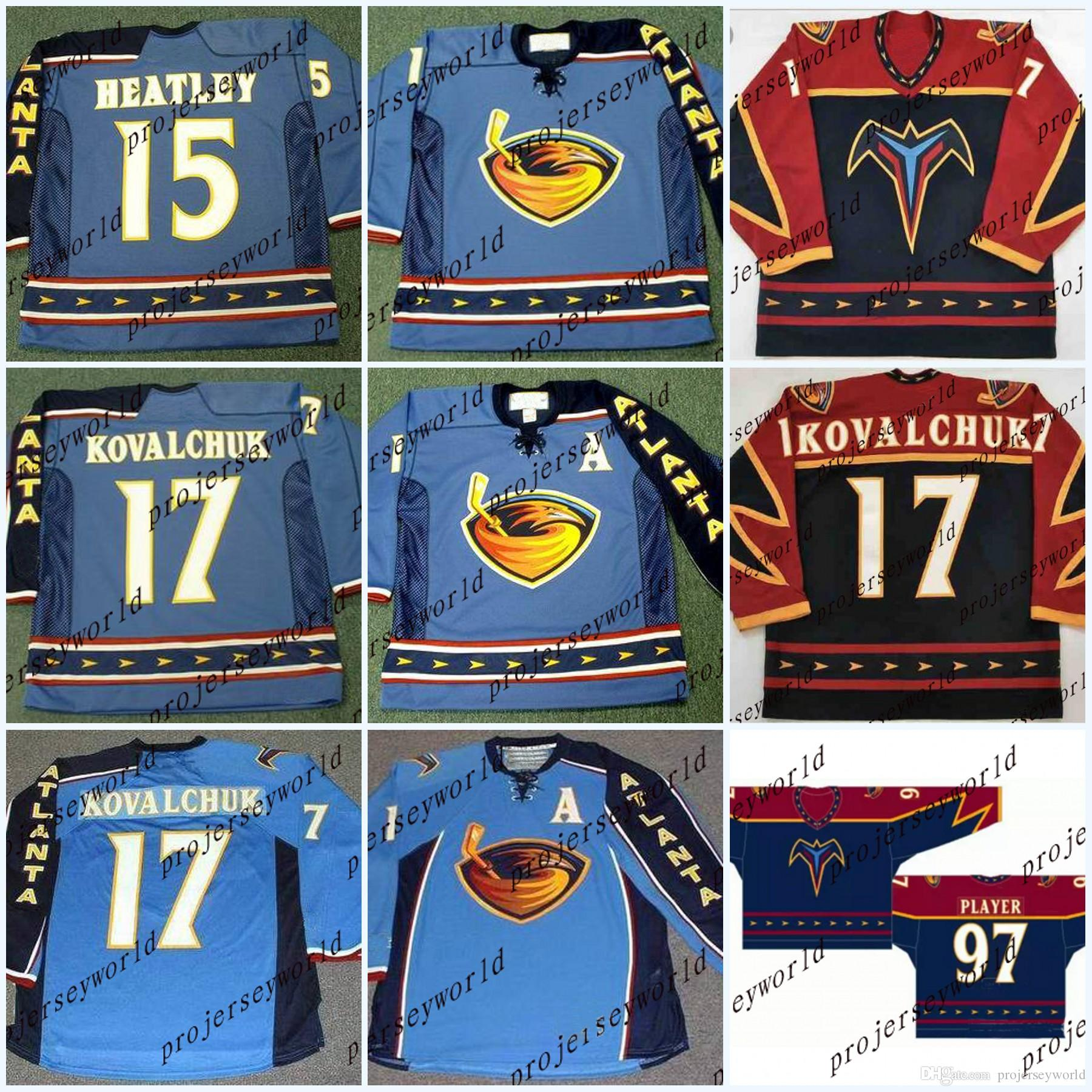 newest b2451 6cbfc Atlanta Thrashers Jerseys #17 ILYA KOVALCHUK 2003 #15 DANY HEATLEY #16  Buchberger #97 Player 2003 Vintage Hockey Jerseys