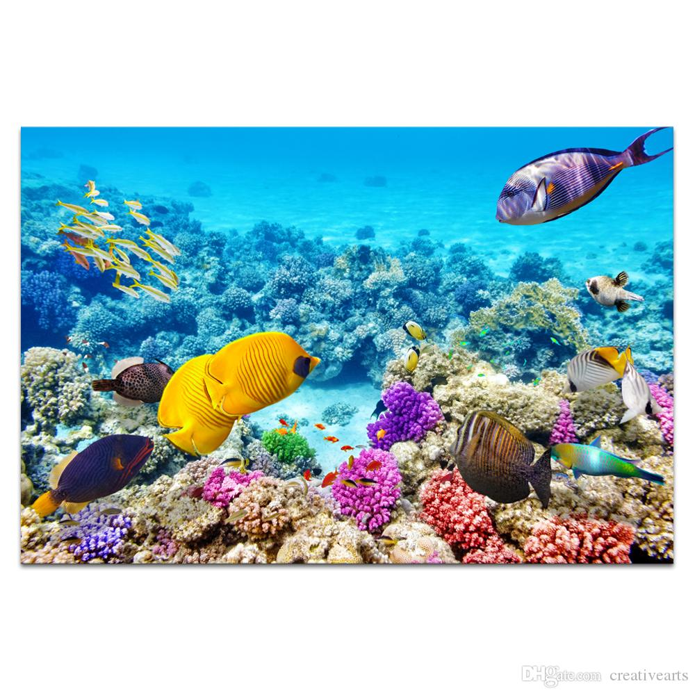 hd printed undersea world paradise of fish canvas art colorful fish rh dhgate com