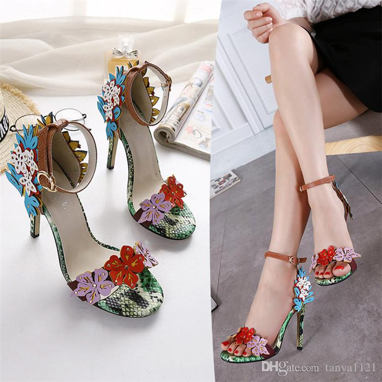 Sexy Ladies Summer Sandals Wedding Party Womens Shoes High Heels Shoes  Stiletto Heel 11.5 Cm Buckle Strap Beautiful Flowers Reef Sandals Gold Shoes  From ... 9af186bfe4ac