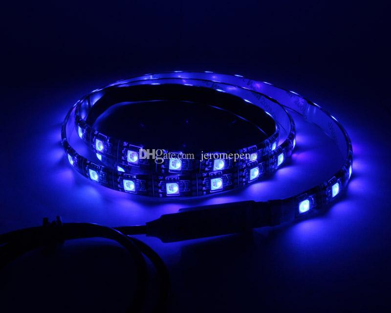 5V USB RGB LED 스트립 빛 방수 0.5 M 1M 2M SMD 5050 블랙 PCB PC TV 배경 캐비닛 조명 + 미니 RGB 컨트롤러