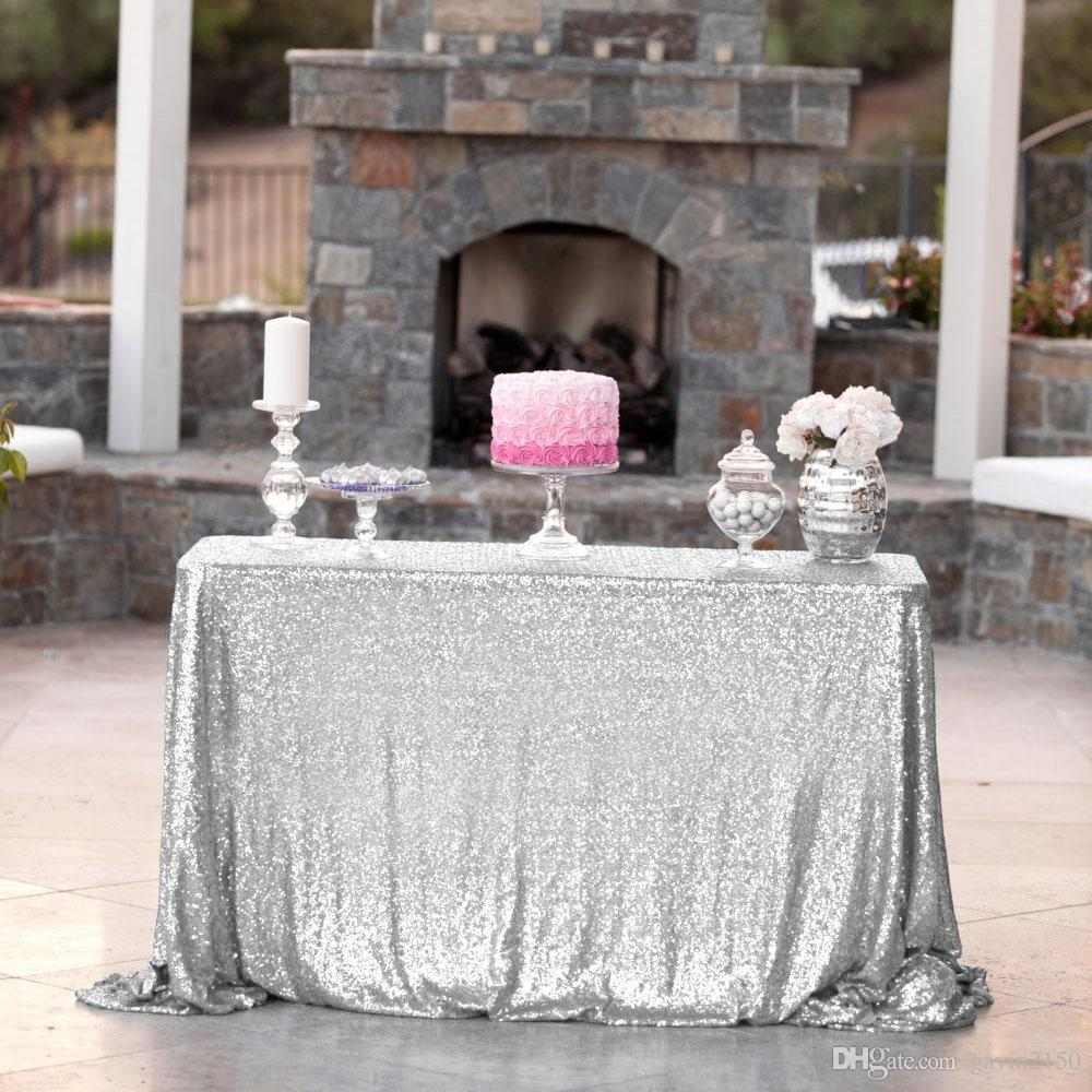 High Quality Rectangular 125*180cm Champagne Sequin Table Cover Tablecloth For Wedding Banquet Party Decoration