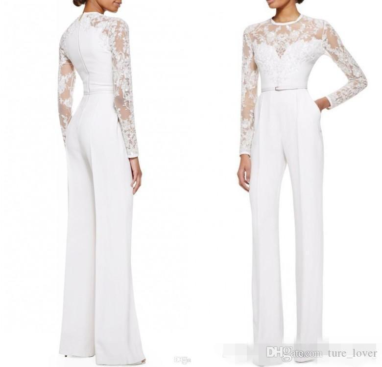 New White Elie Saab Mother Of The Bride Pant Suits Jumpsuit With Long Sleeves Lace Embellished Women Formal Evening Dresses Wear Custom Made
