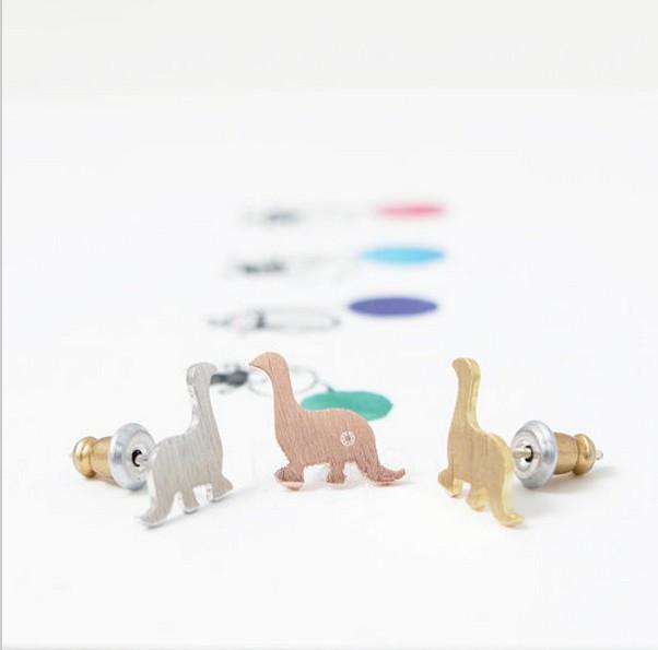 Boucles d'oreilles de dinosaure à la mode en plaqué or 18 carats / plaqué argent / boucles d'oreilles plaquées or rose