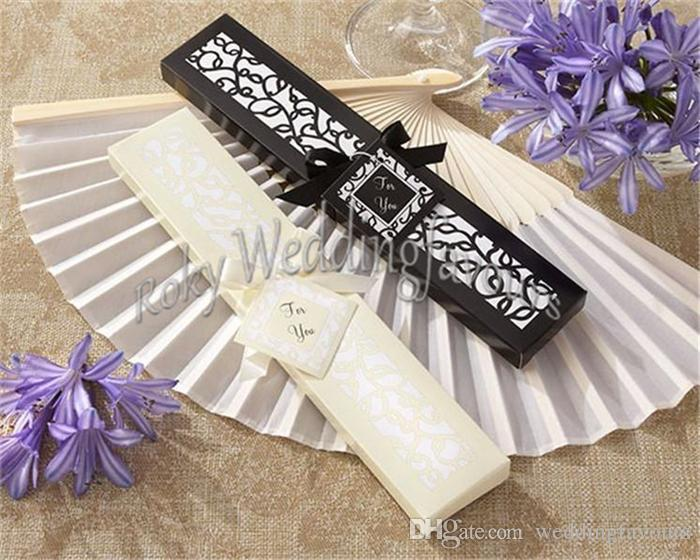 Elegant SILK FAN Wedding Party Favors with Nice Laser Cut Gift Box Package Bridal Shower Anniversary Party Supplies