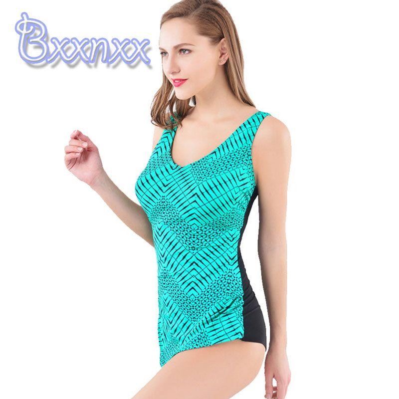 58214d707ce New Print Geometric Plus Size 5XL One Piece Swimsuit Women Modest ...