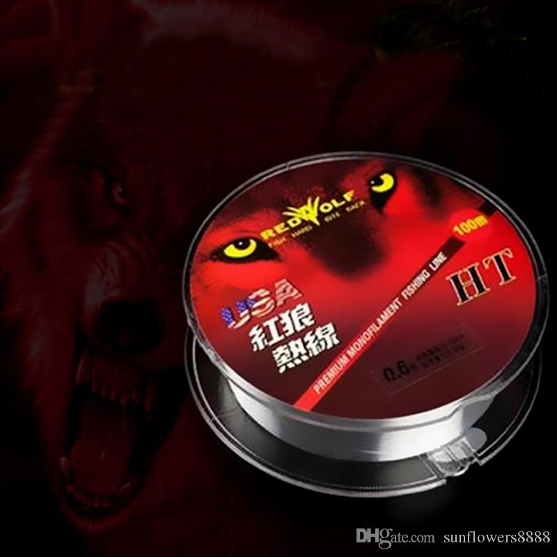 100M Nylon Fluorocarbon Fishing Line 0.1-0.5mm Carbon Fiber Leader Lines High Quality New Red Wolf brand