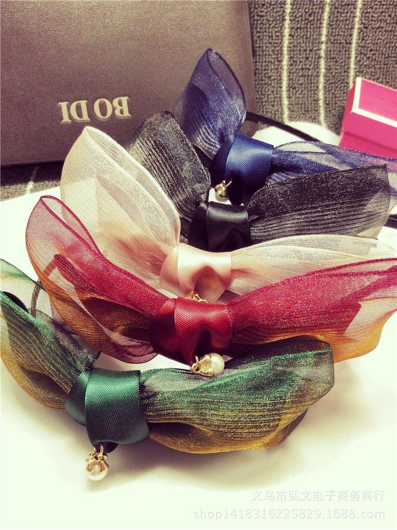 Hot Sale New Fashion Women Headband Rhinestone Elegant Temperament Flower Hair Clasp Butterfly Bow Multicolor Korean Style