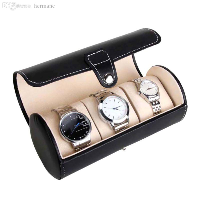 Wholesale-New 3 Slot Antique Watch Travel Case PU Leather Roll Box Collector Organizer Jewelry Storage