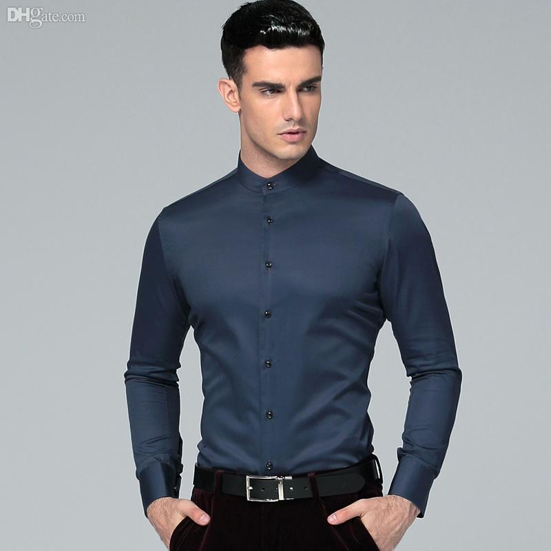 00753edba82c 2019 Wholesale 2016 New Mandarin Collar 100% Cotton Long Sleeves Men Dress  Shirts Men S Business Shirts Casual Men Shirts Masculina Camisas From  Watch2013